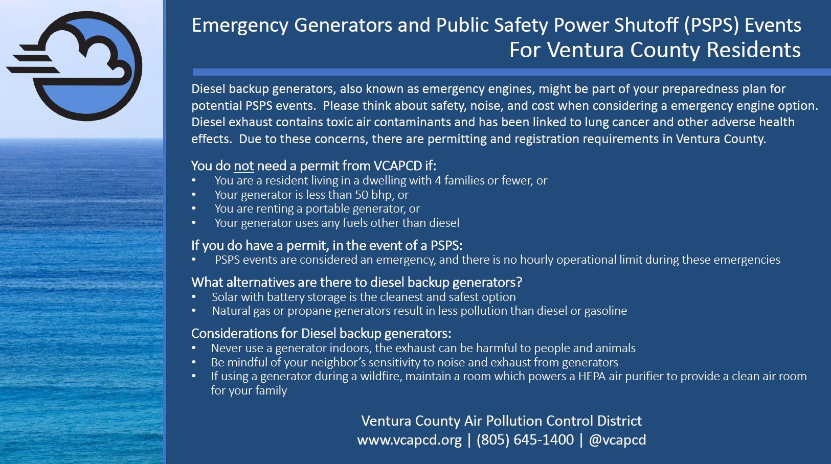 Air District's Emergency Generator Requirements during PSPS Events